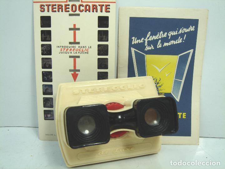 RARO VISOR ESTEREOSCOPICO 3D - STEREOCLIC DE LUXE BRUGUIERE + LAMINA VISTAS LOURDES - STEREOCARTE (Cámaras Fotográficas - Visores Estereoscópicos)
