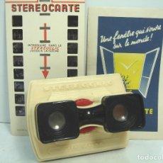 Cámara de fotos: RARO VISOR ESTEREOSCOPICO 3D - STEREOCLIC DE LUXE BRUGUIERE + LAMINA VISTAS LOURDES - STEREOCARTE. Lote 62055772