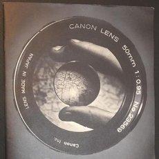 Cámara de fotos: CATALOGO DE CAMARAS FOTOGRAFICAS CINE BINOCULARES PROYECTORES CANON EDICION ESPAÑOLA AÑOS 60-70. Lote 64854711