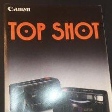Cámara de fotos: CATALOGO DE CAMARAS FOTOGRAFICAS CANON TOP SHOT SUPREME QUARTZ DATE EDICION ESPAÑOLA DE 1986. Lote 64854871