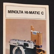 Cámara de fotos: CATALOGO DE LA MAQUINA DE FOTOS MINOLTA HI-MATIC C EDICION ESPAÑOLA. Lote 64878003