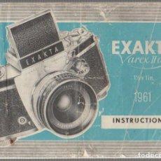 Appareil photos: MANUAL DE INSTRUCCIONES CAMARA FOTOGRAFICA EXAKTA VAREX IIA. AÑO 1961. Lote 65321911