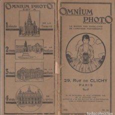 Fotocamere: CATALOGO DE APARATOS FOTOGRAFICOS. OMNIUM PHOTO. PARIS. AÑO 1921. Lote 66139402