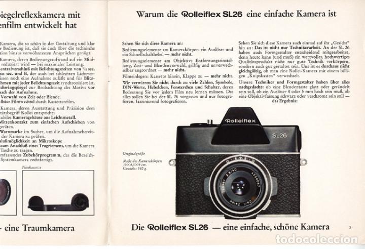 Cámara de fotos: Rolleiflex SL26 – réflex para película 126 (Instamatic) - folleto promocional (1970) - Foto 2 - 66796218