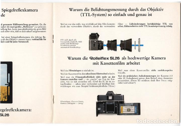 Cámara de fotos: Rolleiflex SL26 – réflex para película 126 (Instamatic) - folleto promocional (1970) - Foto 3 - 66796218