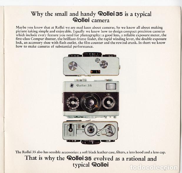 Cámara de fotos: Rollei 35 – precisión en pequeño y compacto (1970) - folleto promocional - Foto 2 - 66796422