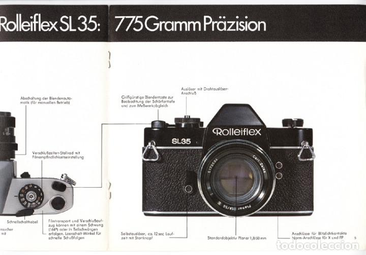 Cámara de fotos: Rolleiflex SL35 Einäugige Spiegelreflexkamera 35 mm, Werbebroschüre – Folleto promocional. 1970 - Foto 2 - 66806514