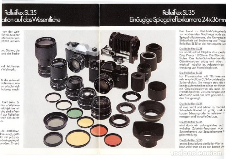 Cámara de fotos: Rolleiflex SL35 Einäugige Spiegelreflexkamera 35 mm, Werbebroschüre – Folleto promocional. 1970 - Foto 3 - 66806514