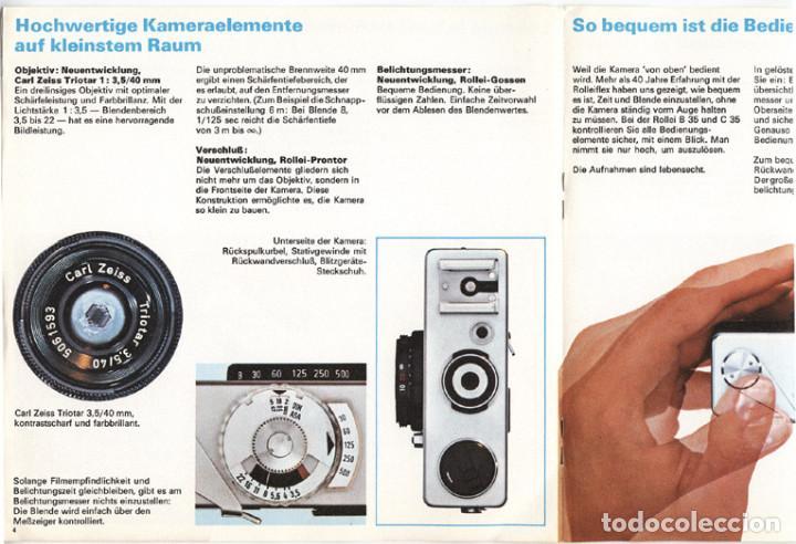 Cámara de fotos: Folleto promocional Rolleiflex B35 – C35, cámaras compactas 35mm (1969) - Foto 2 - 66806798