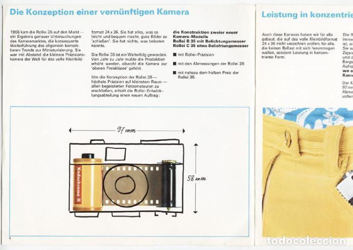 Cámara de fotos: Folleto promocional Rolleiflex B35 – C35, cámaras compactas 35mm (1969) - Foto 3 - 66806798