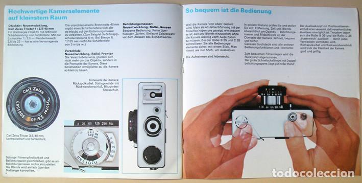 Cámara de fotos: Folleto promocional Rolleiflex B35 – C35, cámaras compactas 35mm (1969) - Foto 5 - 66806798