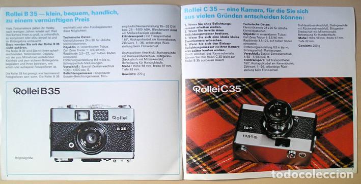 Cámara de fotos: Folleto promocional Rolleiflex B35 – C35, cámaras compactas 35mm (1969) - Foto 6 - 66806798