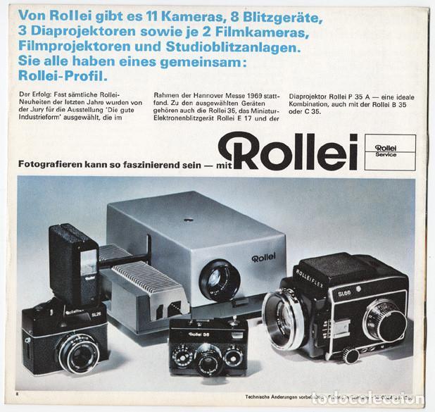 Cámara de fotos: Folleto promocional Rolleiflex B35 – C35, cámaras compactas 35mm (1969) - Foto 7 - 66806798