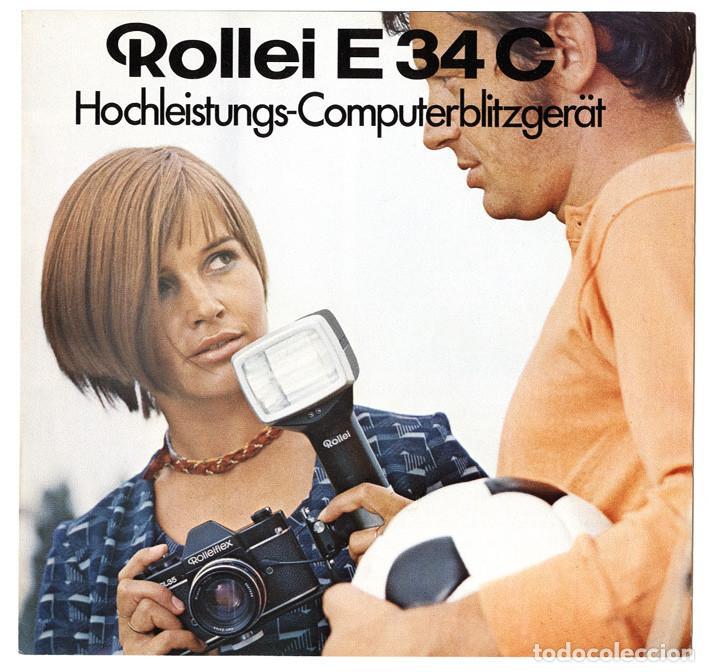 ROLLEI E34C HOCHLEISTUNGS-COMPUTERBLITZGERÄT BROSCHÜRE FOLLETO PROMOCIONAL FLASH COMPUTERIZADO, 1970 (Cámaras Fotográficas - Catálogos, Manuales y Publicidad)