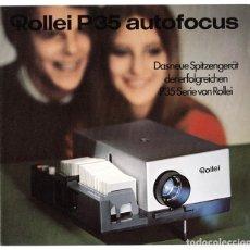 Cámara de fotos: FOLLETO PROMOCIONAL PROYECTOR DE DIAPOSITIVAS ROLLEI P35 AUTOFOCUS (1970). Lote 66808650