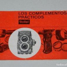 Cámara de fotos: (M) CATALOGO CAMARA DE FOTOGRAFIAS ROLLEI ROLLEIFLEX , LOS COMPLEMENTOS PRACTICOS, ILUSTRADO. Lote 67601201