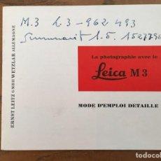 Cámara de fotos: MODE D´EMPLOI DETAILLE LEICA M3. Lote 68803581
