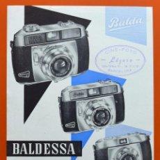 Cámara de fotos: BALDESSA - BALDA - PEQUEÑO FOLLETO PUBLICITARIO DE CAMARA FOTOGRAFICA - ORIGINAL DE EPOCA. Lote 69500517
