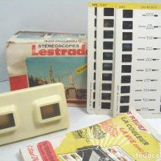 Cámara de fotos: VISOR ESTEREOSCOPICO 3D - LESTRADE SIMPLEX + CATALOGO + 3 LAMINAS LOURDES - MADE IN FRANCE 1974. Lote 148353690