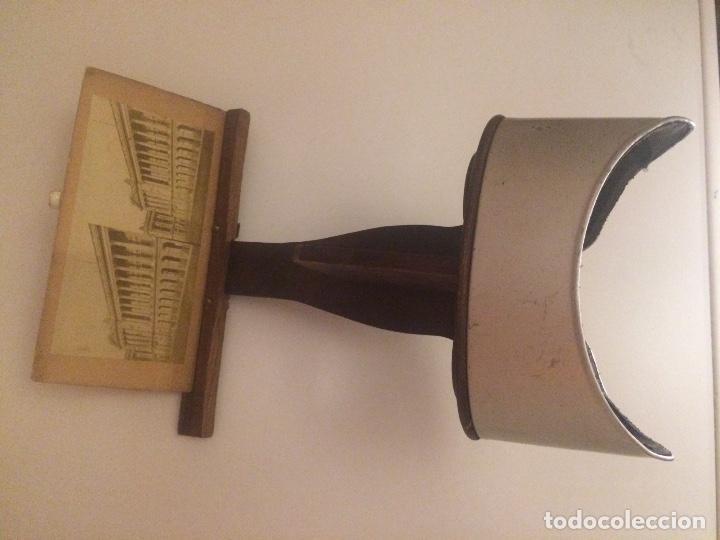 Cámara de fotos: Visor estereoscopio del S XIX, realizado en madera y latón. - Foto 2 - 81245480