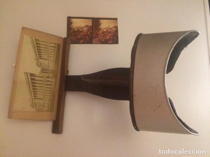 Cámara de fotos: Visor estereoscopio del S XIX, realizado en madera y latón. - Foto 3 - 81245480