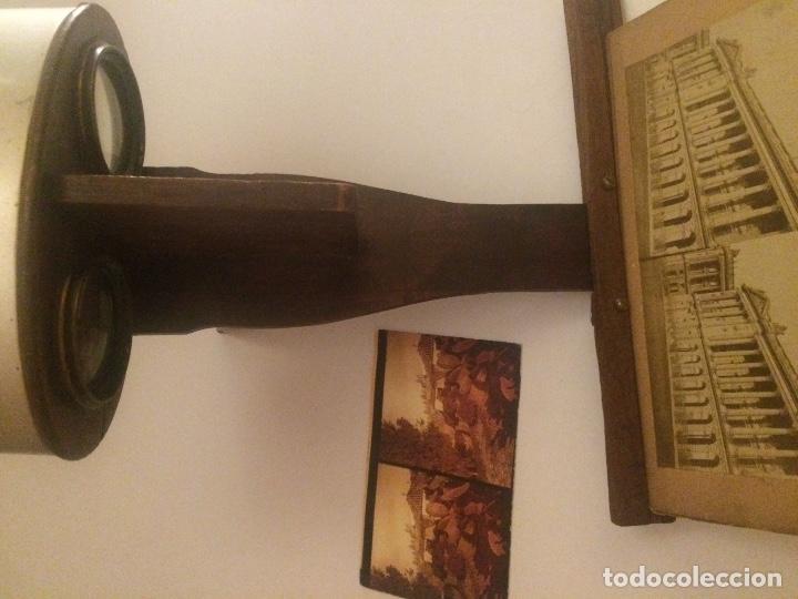 Cámara de fotos: Visor estereoscopio del S XIX, realizado en madera y latón. - Foto 4 - 81245480
