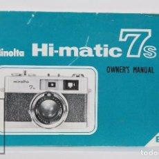 Cámara de fotos: MANUAL DE USUARIO PARA CÁMARA FOTOGRÁFICA / FOTOS - MINOLTA HI-MATIC 7S - EN INGLÉS - AÑOS 60. Lote 86273620