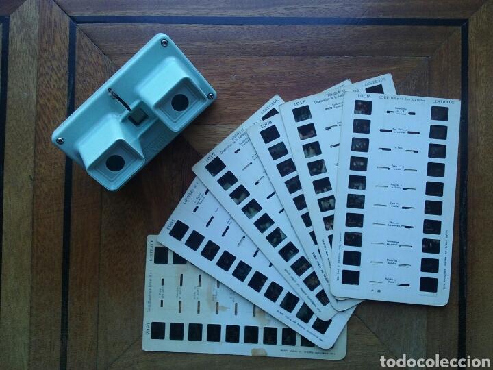 VISOR ESTEREOSCOPICO SIMPLEX STEREOSCOPE LESTRADE Y 6 FICHAS DE LOURDES (Cámaras Fotográficas - Visores Estereoscópicos)