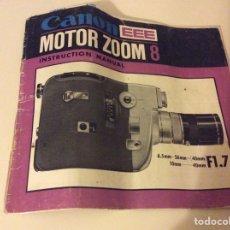 Cámara de fotos: MANUAL MOTOR ZOOM 8 CAMARA CANON. Lote 89683495