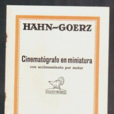 Cámara de fotos: CINEMATÓGRAFO EN MINIATURA CON ACCIONAMIENTO POR MOTOR.HAHN-GOERZ + LISTA DE PRECIOS.AÑOS 20S.. Lote 90561365