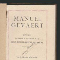 Cámara de fotos: MANUEL GEVAERT.LIBRO RELACIONADO CON LA FOTOGRAFIA.TEXTO EN FRANCÉS.. Lote 90657055