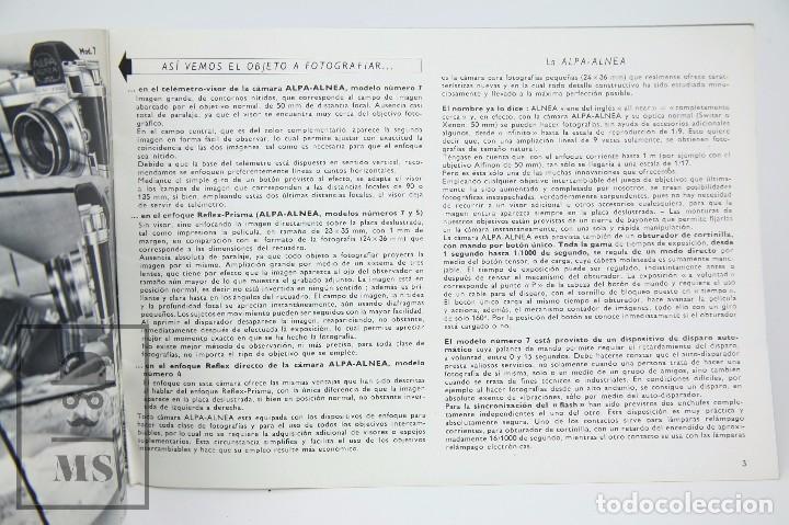 Cámara de fotos: Folleto Publicitario de Fotografía - Cámara de Fotos Alpa Alnea- Años 60-70 - Foto 4 - 91361470