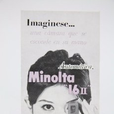 Cámara de fotos: FOLLETO PUBLICITARIO DE FOTOGRAFÍA - CÁMARA DE FOTOS MINOLTA 16 II - AÑOS 60. Lote 91431325