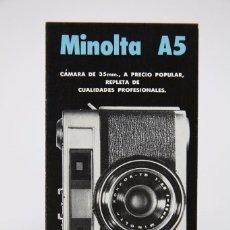 Cámara de fotos: FOLLETO PUBLICITARIO DE FOTOGRAFÍA - CÁMARA DE FOTOS MINOLTA A5 - AÑOS 60. Lote 91431390