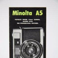 Cámara de fotos: FOLLETO PUBLICITARIO DE FOTOGRAFÍA EN INGLÉS - CÁMARA DE FOTOS MINOLTA A5 - AÑOS 60. Lote 91431450