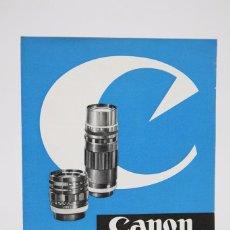 Cámara de fotos: FOLLETO PUBLICITARIO DE FOTOGRAFÍA - OBJETIVOS PARA CÁMARAS DE FOTOS CANON CANONFLEX - AÑOS 60. Lote 91432065