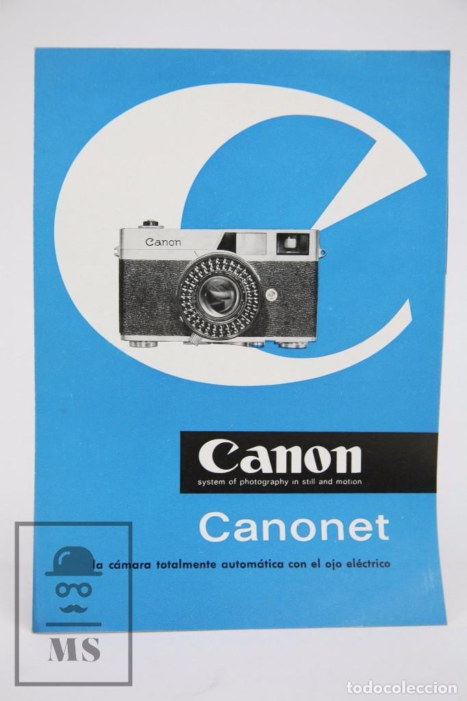 FOLLETO PUBLICITARIO DE FOTOGRAFÍA - CÁMARA DE FOTOS CANON CANONET - AÑOS 60 (Cámaras Fotográficas - Catálogos, Manuales y Publicidad)