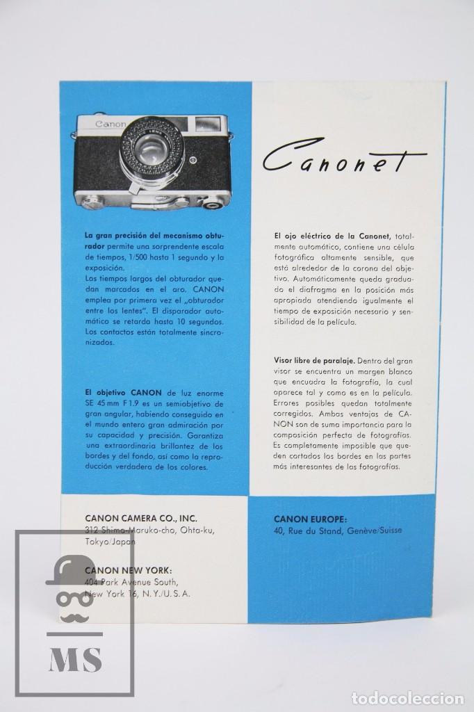 Cámara de fotos: Folleto Publicitario de Fotografía - Cámara de Fotos Canon Canonet - Años 60 - Foto 3 - 91432125
