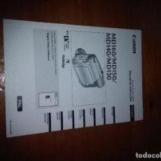 Cámara de fotos: MANUAL DE INSTRUCCIONES CANON. MD160/MD150/ MD140/ MD130. ESPAÑOL Y PORTUGUEL. EST20B6. Lote 91496490