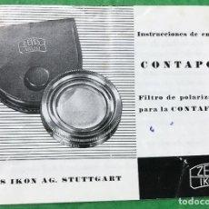 Cámara de fotos: ANTIGUO CATALOGO DE ZEISS IKON - CONTAPOL FILTRÓ DE POLARIZACIÓN PARA CONTAFLEX. Lote 92304515