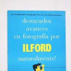Cámara de fotos: FOLLETO PUBLICITARIO DE FOTOGRAFÍA - AVANCES EN FOTOGRAFÍA POR ILFORD - AÑOS 60. Lote 92707415