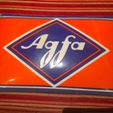 Cámara de fotos - cartel de chapa agfa, antiguo - 93978380