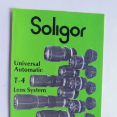 Cámara de fotos: SOLIGOR / UNIVERSAL AUTOMATIC T - 4 / LENS SYSTEM / INGLES. Lote 95947851