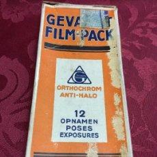 Cámara de fotos: CAJA GEVAERT ORTHOCHROM ANTI-HALO - FILM - MEDIDA 16,5X6 CM. Lote 97630171