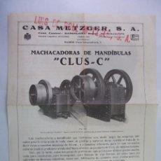 Cámara de fotos: FOLLETO PUBLICITARIO MACHACADORAS DE MANDIBULAS CLUS-C. CASA METZGER S.A. BARCELONA. TDKP12. Lote 98641291