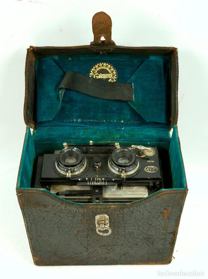 Cámara de fotos: cámara estereoscópica Gaumont grand prix, para placas de cristal 9x13 cm. - Foto 2 - 99617211