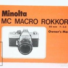 Cámara de fotos: MANUAL DE USUARIO PARA MINOLTA / FOTOS - MC MACRO ROKKOR 50 MM F: 3.5 - EN INGLES - AÑOS 70. Lote 103053511