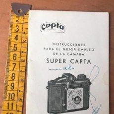 Cámara de fotos: MANUAL INSTRUCCIONES, CÁMARA FOTOS -SUPER CAPTA. Lote 119145811