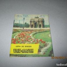 Appareil photos: ANTIGUO CATÁLOGO PUBICITARIO Y LISTA DE DISCOS Nº 4 DE VIEW MASTER - AÑO 1958. Lote 120976331