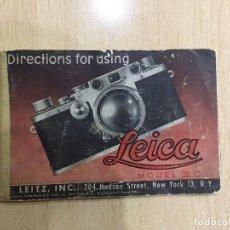 Cámara de fotos: INSTRUCCIONES LEICA III C INGLES. Lote 121271335